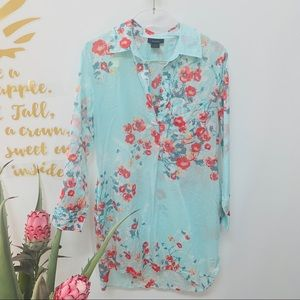 Natori Mint Green Floral Long Sleeve Sleepshirt